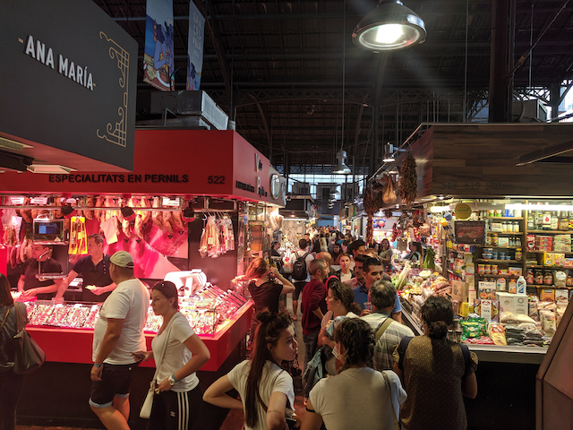 The market, showing several stalls