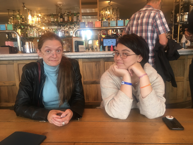 Opal and Louise at lunch after seeing the globe theatre