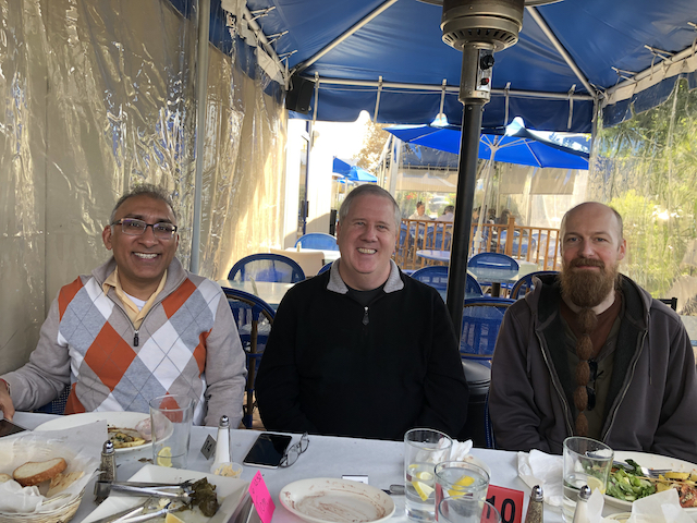 Vivek, Tom and Toni at lunch