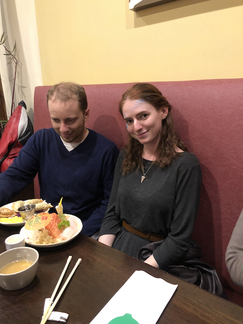 Tim and Heather with Japanese food