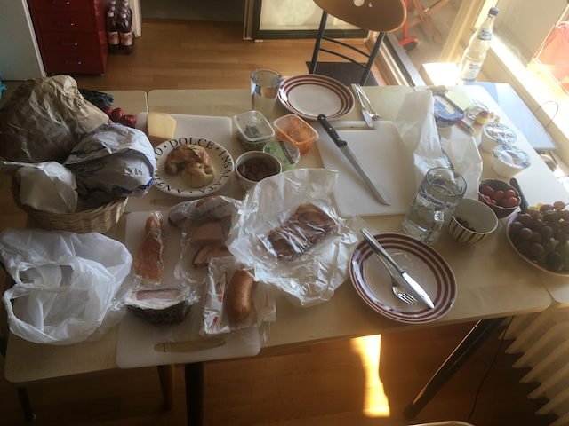 Breakfast of meats, cheeses and breads with Sabine
