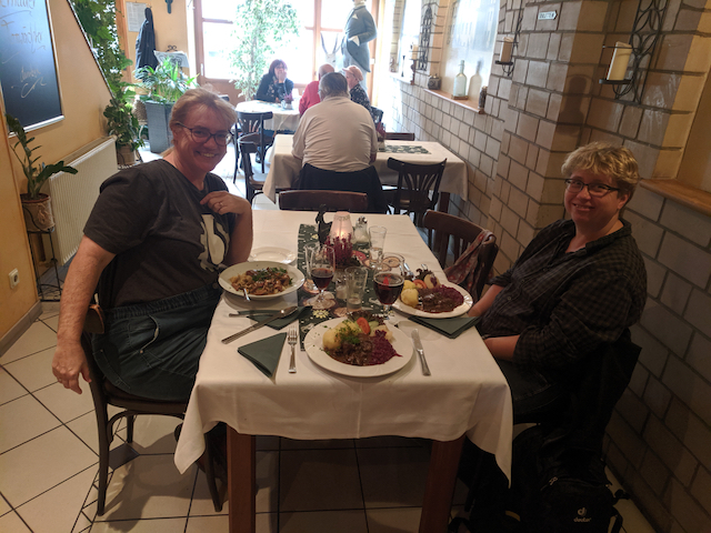 Cat and Christine with our lunch in Bernau