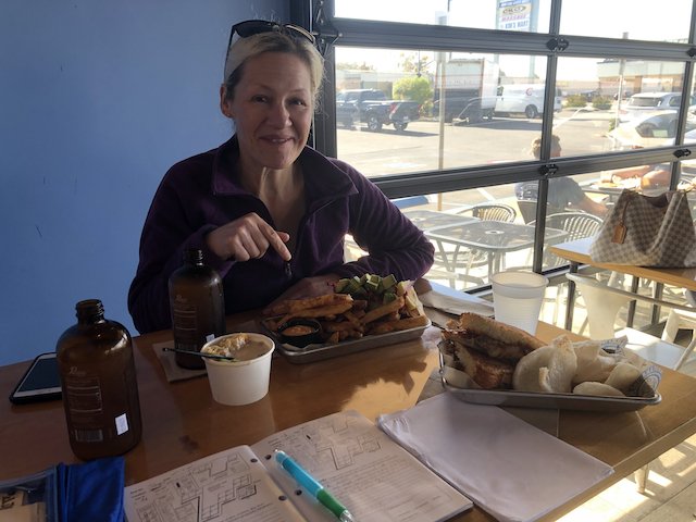 Lunch, Stephanie and dive logs